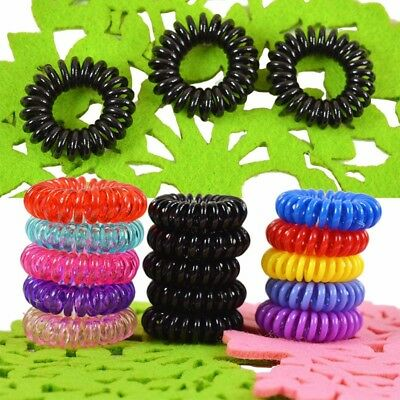 100 Pcs Women Girl Lady Elastic Rubber Spiral Bungee Plastic Hair Tie Band LARGE