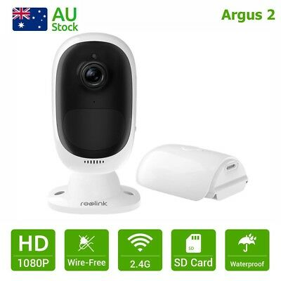 Reolink Argus 2 HD 1080P IP Camera Rechargeable Wire-Free Starlight Night Vision