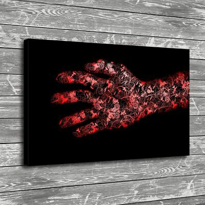 Red Hand Flowers Art Home Decor Room HD Canvas Print Picture Wall Art Painting