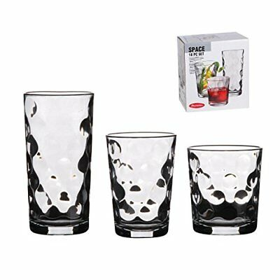 18 Piece Drinking Glassware Set - Includes Highball, Medium and Tumblers ...