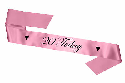 Personalised Birthday Sash Any Age 20 Today Baby Pink Gift 17 18 21 30 Party