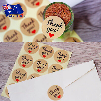 120pcs Kraft Paper Thank You Stickers Gift Tags Wedding Party Favors Seal Label