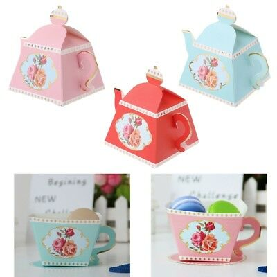 10Pcs Festive Teapot Candy Boxes Party Favors Wedding Bridal Shower Birthday New