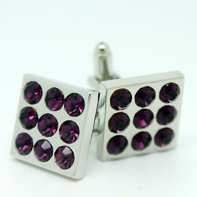 Purple and Silver Square Wedding Cufflinks with Stones
