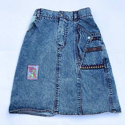 Vintage Kids 90s Classic Acid Wash Donald Duck Aztec Denim Grunge Skirt 8-10 Y