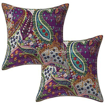 """Indian Cotton Printed Kantha Pillow Case Covers 16"""" Paisley Cushion Cover 2 Pc"""