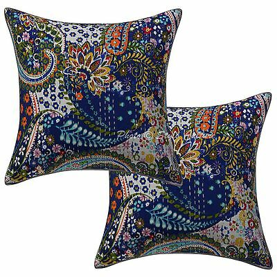 """Vinatge Kantha Printed Indian Pillow Case Covers 16"""" Paisley Cushion Cover 2 Pc"""