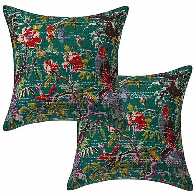 """Ethnic Cotton Kantha Bird Throw Pillow Case Covers 16"""" Indian 2 Pc Cushion Cover"""