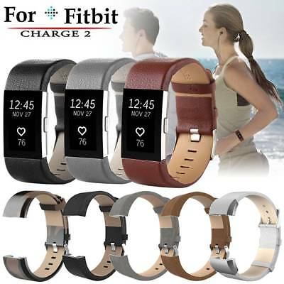 Leather Luxury Wristband Watchband Bracelet Band Strap for Fitbit Charge 2 Watch