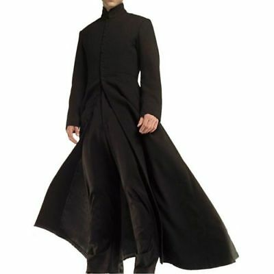 dfd0563cbe0 MATRIX NEO COTTON Coat Keanu Reeves Black Leather Trench Gothic ...