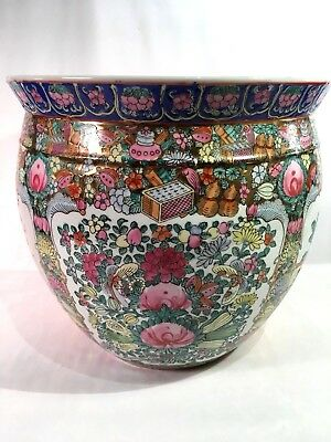 Vintage Oriental Asian Chinese  Bowl Planter Pretty In Pink