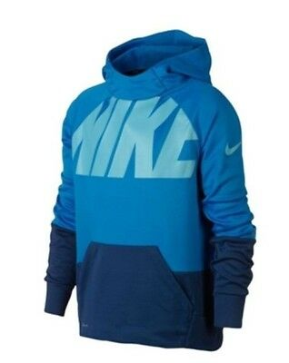 Nike Boys Dry Fit Elite Therma Graphic Hoodie Size L Blue NWT Long Sleeves