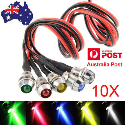 10pcs 12V LED Dash Pilot Panel Indicator Warning Light Lamp Car Boat Marine Van