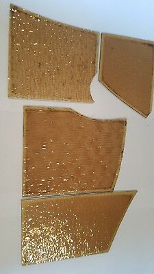 4 x small various Old pieces of stained glass spares/repair
