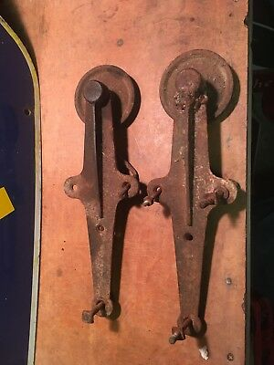 Antique Vintage Pair of Cast Iron Barn Door Rollers Hardware