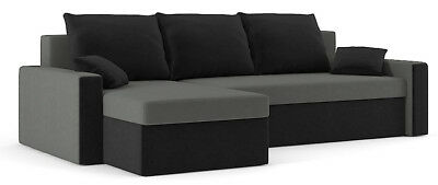 Corner Sofa Bed with Storage L Shaped Grey Black Fabric Many Colours PROMOTION