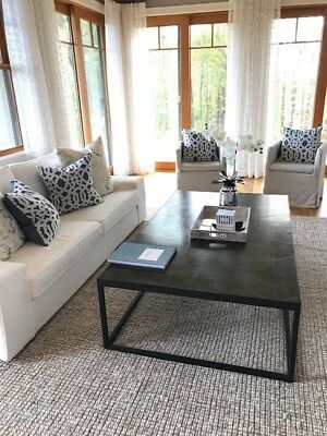 Restoration Hardware Metal Parquet Coffee Table 68 X 40