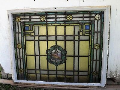 Antique Leaded Stained Glass Window Hand-Painted Kiln Fired Top Sash Jeweled #1