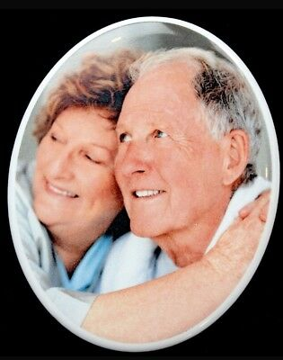 Personalised Memorial Photo Plaque Oval Porcelain Grave Garden Funeral Sign UK