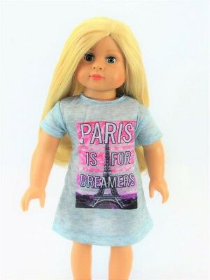 Paris Nightgown Pajamas Eiffel Tower For 18 Inch American Girl Doll Clothes