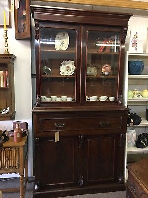 Superb Early Victorian Secretaire Bookcase In Deep Cherry red Mahogany