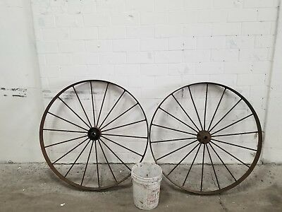 "large antique wagon wheels 2pc set 48""×31/2"" wd. 18spoke barn fresh"