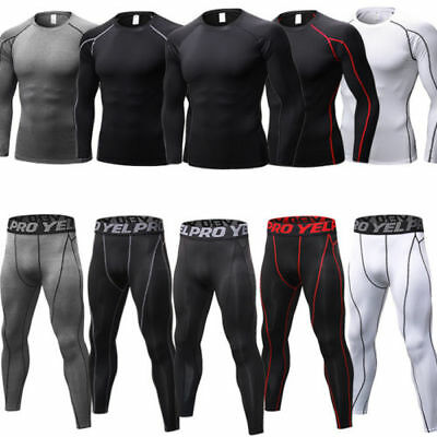 Mens Compression Gym Base Layer T-Shirt Tops Tee Sports Long Pants Legging Sets