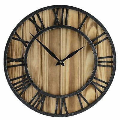 "16"" Rustic Vintage Metal Wood Silent Non Ticking Wall Clock Large Roman Numerals"