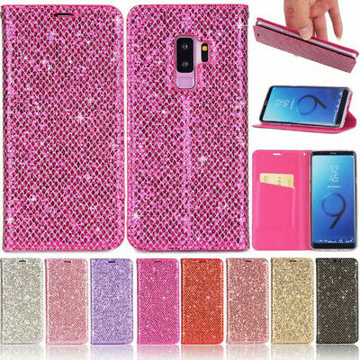New Ultra-thin Magnetic Sparkle Flip Leather Wallet Card Stand Case Cover