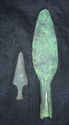 """Remarkable Old Copper Culture Spear Points - 8.5"""" / 3.5"""" - Shawano Co. - w/ Docs"""