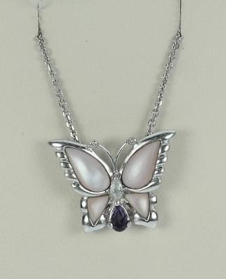 Sterling Silver Light Pink Mother of Pearl Butterfly Necklace, 5.40 Grams L2475