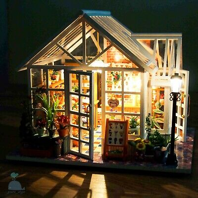 DIY Handcraft Miniature Wooden Dolls House The Back Garden Greenhouse 2019