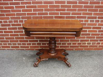 Biggs Empire Style Mahogany Claw Foot Game Card Table
