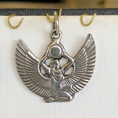 Beautiful Solid heavy Hand Made Egyptian Queen Isis Sterling Silver Pendant/Chrm