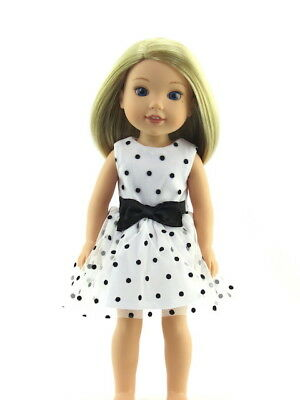 "Black White Polka Dot Dress For 14.5"" Wellie Wishers American Girl Doll Clothes"
