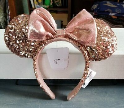 Disney Parks Rose Gold Sequin Minnie Mouse Ears Headband