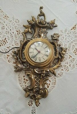 Vintage Large Sessions Clock French Gilded Style Bronze Cartel Hollywood Regency