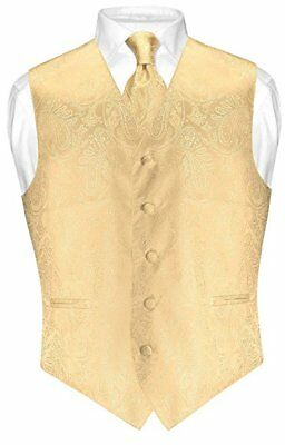Vesuvio Napoli Men's Paisley Design Dress Vest & NeckTie GOLD Color Neck Tie Set