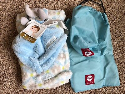 2 Baby Blankets New Elephant Loom Diaper Changing Pad Bag Pouch Lot