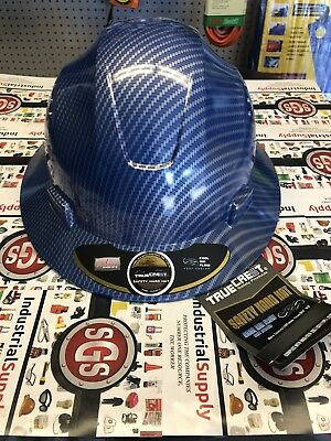 HDPE Hydro Dipped FG Blue Silver Full Brim Hard Hat with Fas-trac Suspension