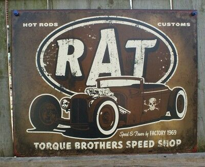Retro Vintage Rat Hot Rods Torque Brothers Speed Shop Tin Sign 13 x 16in