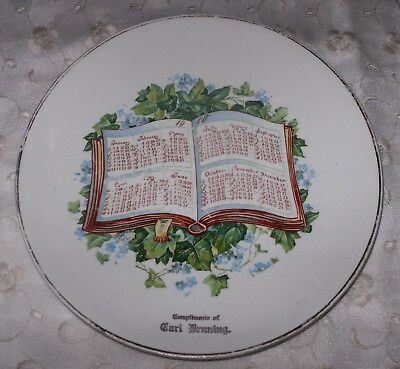1910 Antique FORGET-ME-NOTS Open Book CALENDAR PLATE Give-Away Globe China