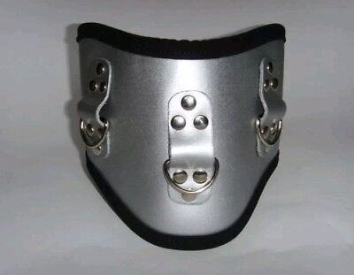 5 Inch Silver Leather Posture Collar - 2 Buckle Fastening, 3 D Rings