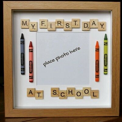 MY FIRST DAY At School Scrabble Tiles Crayon Box Frame - £12.00 ...