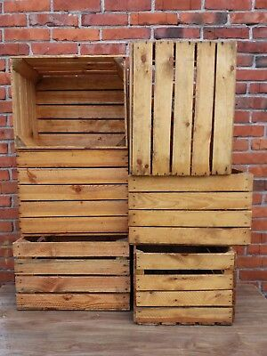 6 Solid&Strong Vintage Wooden Fruit Apple Crate Box Home Decor Used & Cleaned!