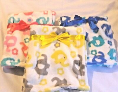 Personalized Elephant Minky Baby Blanket in Pink, Blue or Yellow;  Baby Shower
