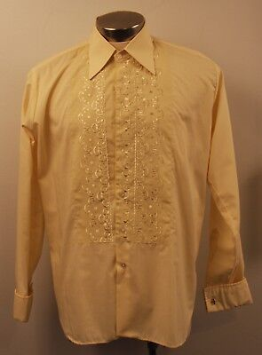 LARGE ORIGINAL VINTAGE 1970s YELLOW EMBRIODED DINNER SHIRT WITH BLACK VELVET B