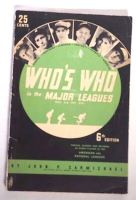 Who's Who in the Major Leagues 6th Edition 1938 Vintage American Baseball Guide