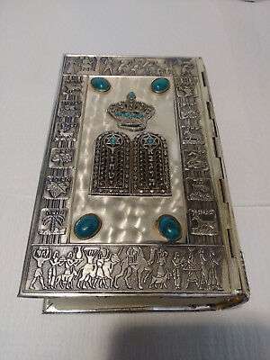 1973 Beautiful Art Silver Metal Tanakh (Tanach) Complete Old Testament Bible