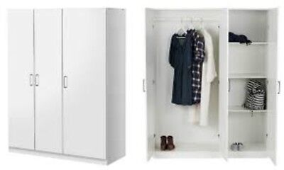 Ikea Dombas Large Size 3 Door Wardrobe White Including 4 Pieces Mirror Brand New